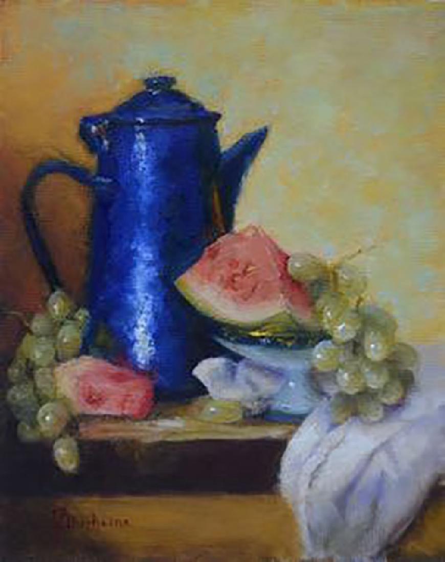 """""""Blue Coffee Pot & Watermelon"""", Mireille Duchesne"""
