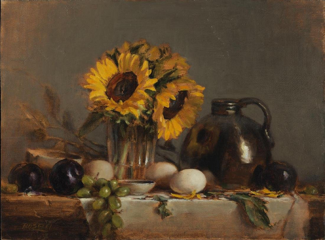 """""""Sunflowers with Brown Jug"""", Ellen Buselli"""