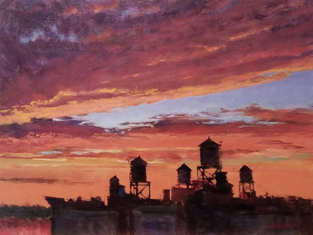 """Water Towers at Sunset"", Peter Salwen"