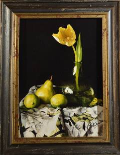 Yellow Tulip and Green Bottle Bo Kass
