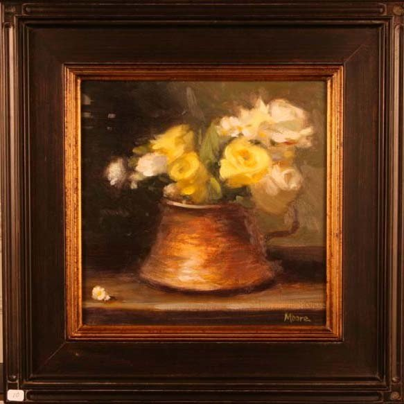 """10: """"Yellow Roses in Brass Vessel,"""" Wright Moore"""