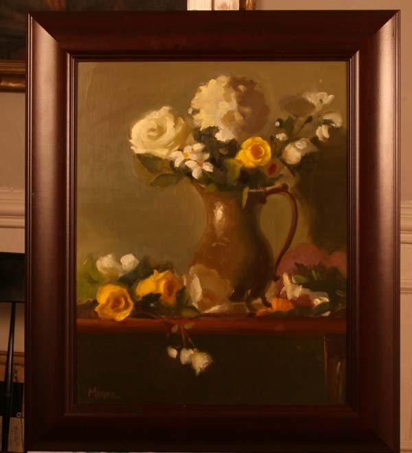 """76: """"Floral with Silver Vessel,"""" Wright Moore"""