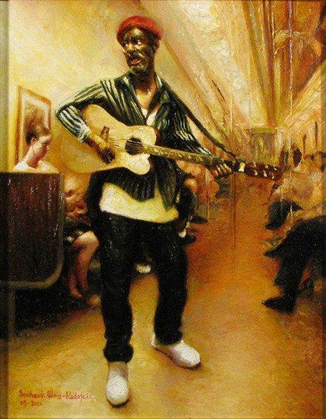 "104: ""Aging Subway Troubadour"" by Seahawk Haiying Wang"