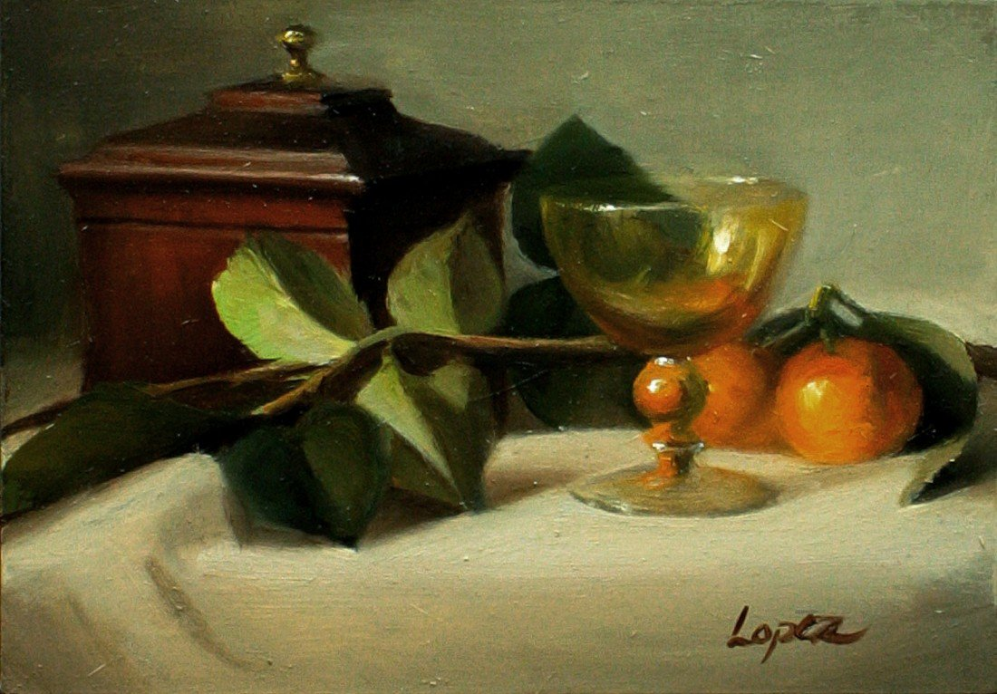 """3: """"Still Life with Cherrywood Box,"""" Leah Lopez"""