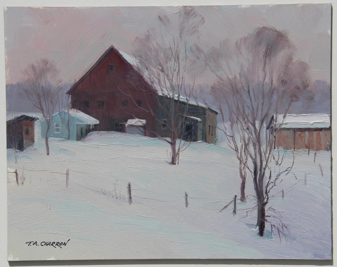 "102: ""Winter Barn, Vermont,"" T. A. Charron"