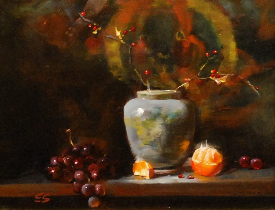 "173: ""Still Life with Grapes & Tangerines"""