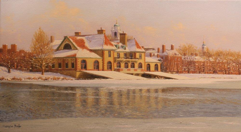 "155: ""Harvard Boathouse on Charles River"", Sergio Roffo"