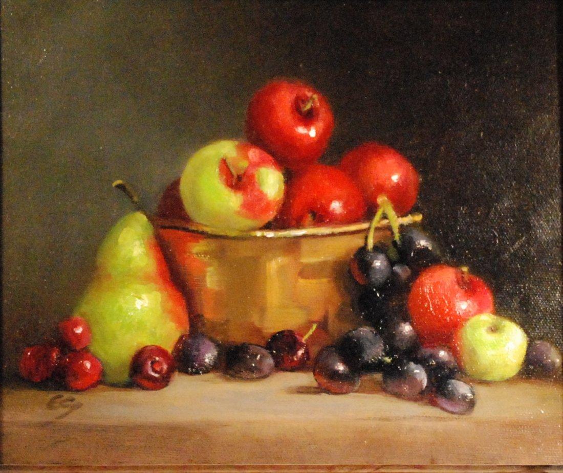 """""""Fruit in a Brass Vattice Basket"""", Elizabeth Spencer"""
