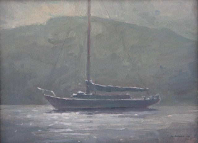 """Sailboat Manana and Fog"", Rick Daskam"