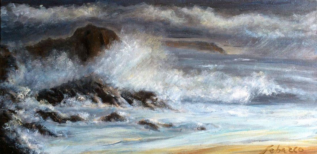 """Crashing Wave on Rocky Shore"", Raúl Santiago Sebazco"