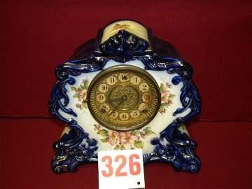 326: antique porcelain clock