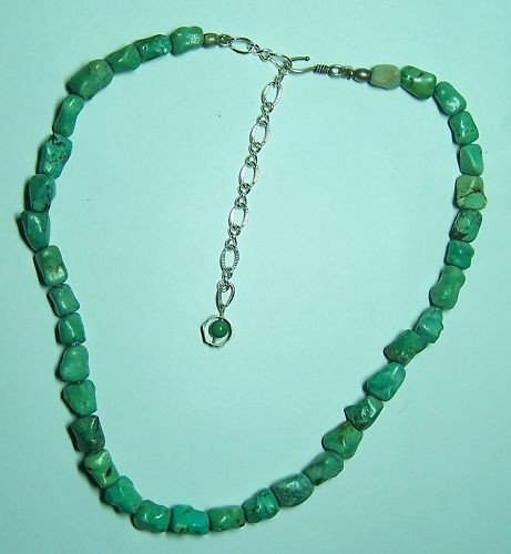 4: VINTAGE STERLING SILVER  PERSIAN TURQUOISE NECKLACE