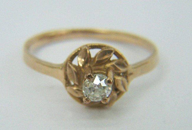 6: 14K .25CT OLD EUROPEAN CUT DIAMOND RING