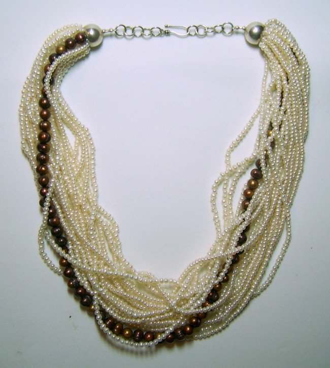 14: STERLING SILVER CULTURED PEARL TORSADE NECKLACE