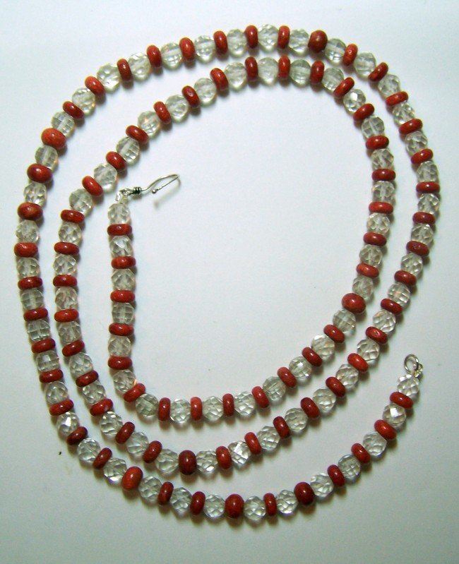 15: STERLING SILVE CORAL CRYSTAL ROCK NECKLACE