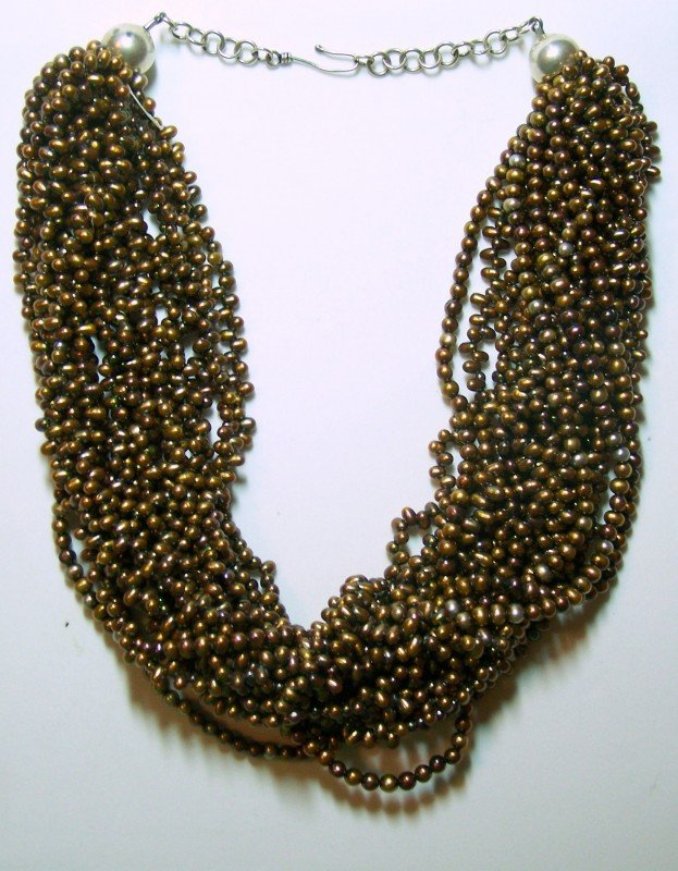 17: STERLING SILVER CULTURED PEARL TORSADE NECKLACE