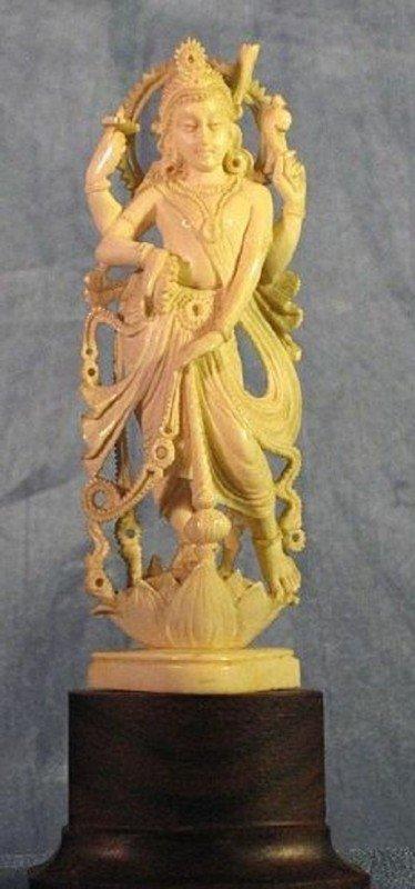 317: Rare Indian Carved Ivory Lord Vishnu Figure