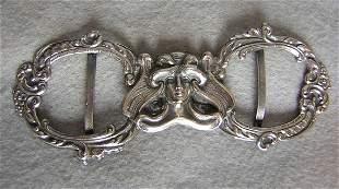 Antique Silver Art Nouveau Belt Buckle