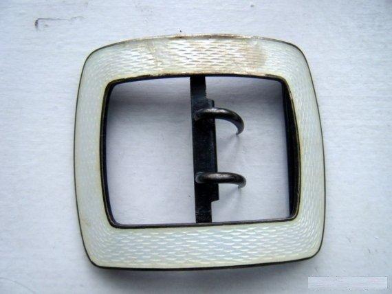 5: Large Vintage White Enamel Sterling Belt Buckle