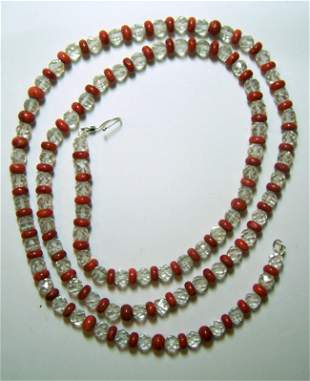 STERLING SILVE CORAL CRYSTAL ROCK NECKLACE