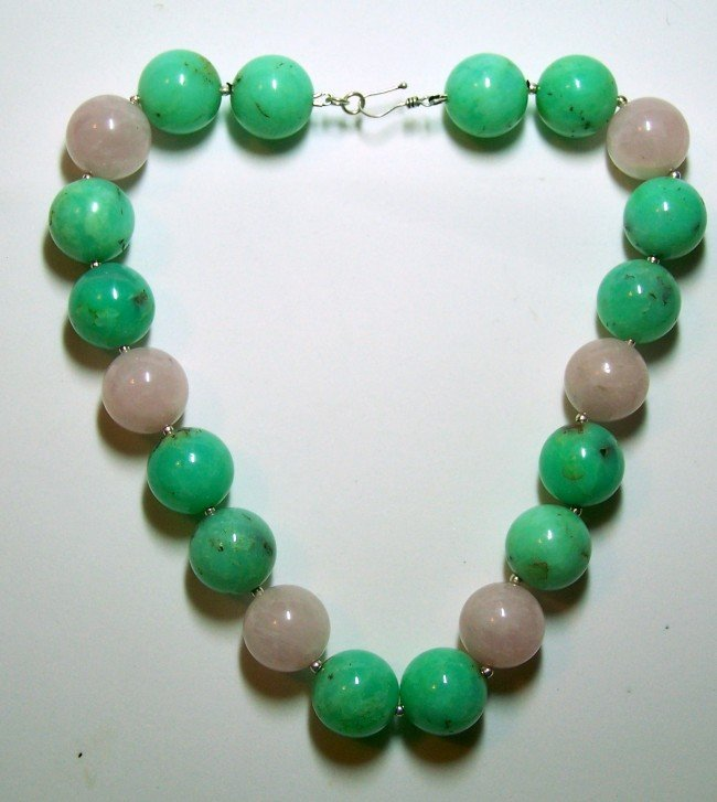19: STERLING SILVER ROSE QUARTZ CHALCEDONY NECKLACE