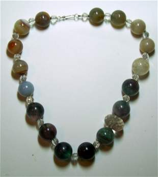 STERLING SILVER ROCK CRYSTAL CHALCEDONY NECKLACE