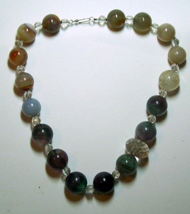 20: STERLING SILVER ROCK CRYSTAL CHALCEDONY NECKLACE