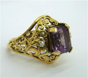 RARE VINTAGE AMETHYST SEED PEARL 14K GOLD RING