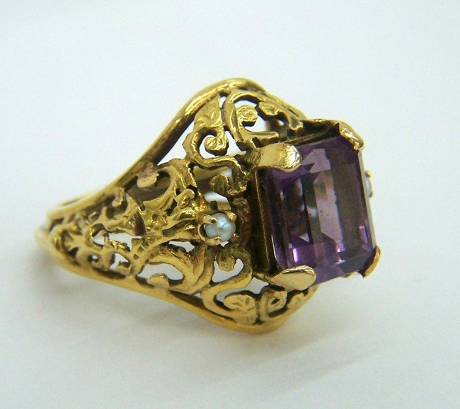 31: RARE VINTAGE  AMETHYST SEED PEARL 14K GOLD RING