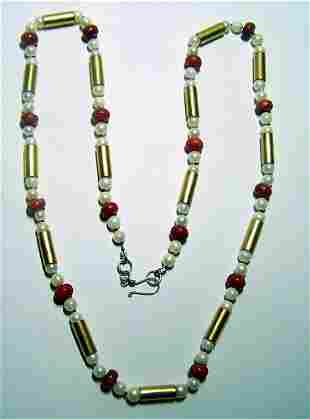 STERLING SILVER CULTURED PEARL CORAL NECKLACE