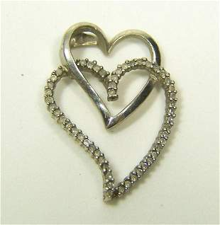 SIGNED STERLING SILVER 1/4 CT DIAMOND PENDANT