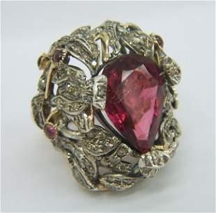 RARE 14K GOLD 2CT DIAMOND TURMALINE RING