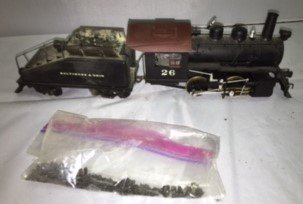 B&O O Scale Brass Steam Engine and Tender