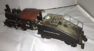 B&O O Scale Brass Steam Engine and Tender - 4