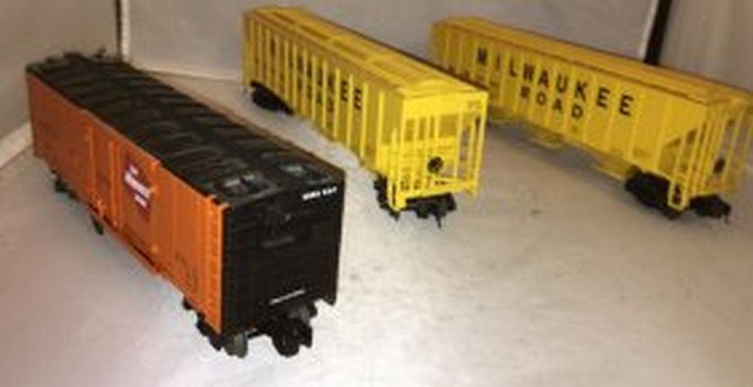 Three Lionel Milwaukee Road O Gauge Freight Cars