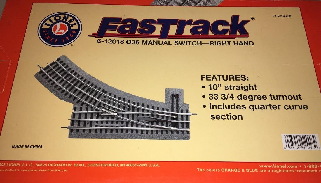 Lionel 12018 O Gauge Fastrack Left Hand Switch - 3