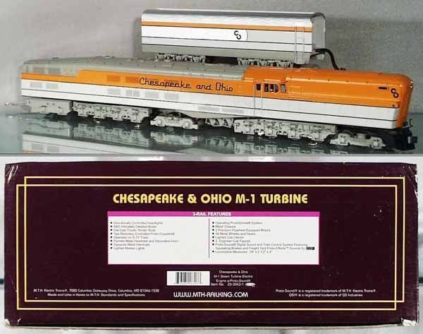 MTH PREMIER C&O O GAUGE M1 STEAM TURBINE OB