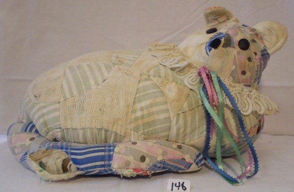 11: Vintage Hand Made Quilt Cat Pillow