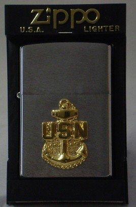 13: New Zippo Lighter w/ U.S. Navy emblem