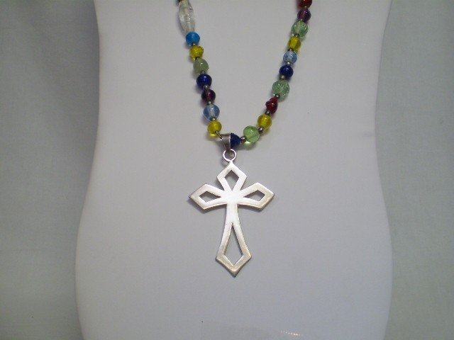 2: Multi Colored Beaded Necklace w/Sterling Cross