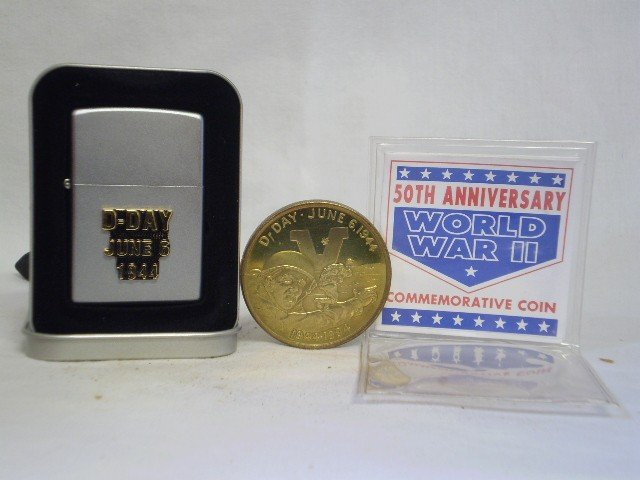 7: WWII Commerative Coin & Ziipo Lighter