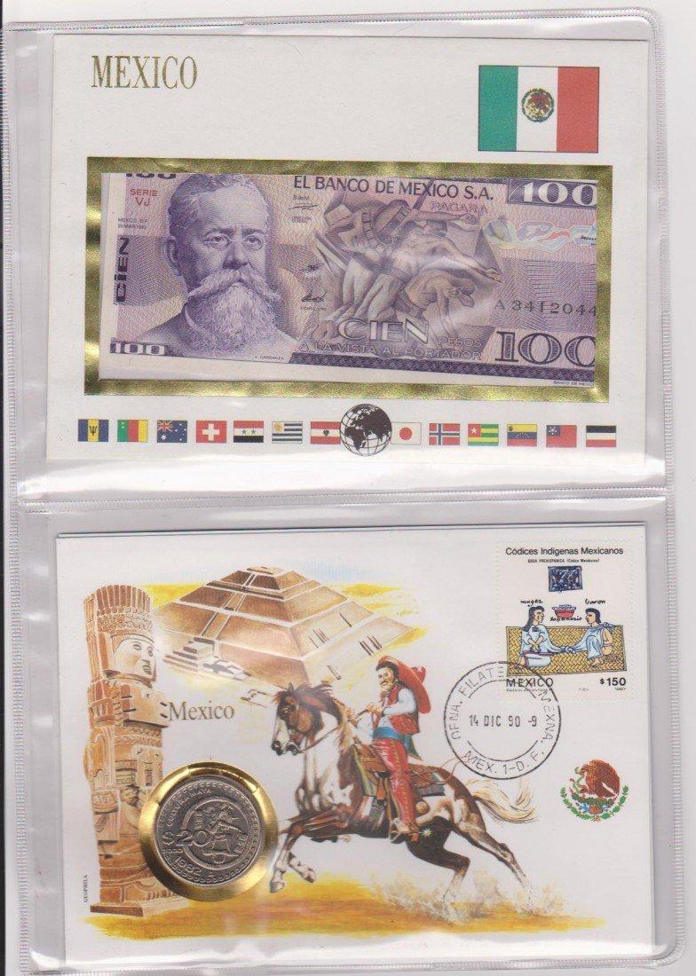 9: commemorative Mexican Coin, Bill & Stamp