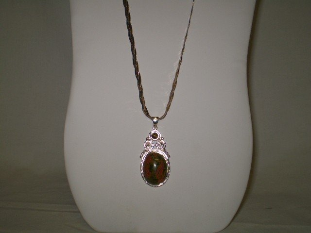 """17: 24"""" Twisted sterling Necklace w/ Pendant"""