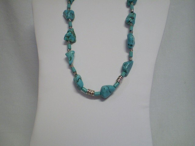 """24: 22""""  Turquoise & Sterling Necklace"""