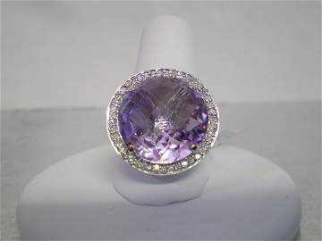 47: 14K White Gold Ring with Amethyst & Diamonds