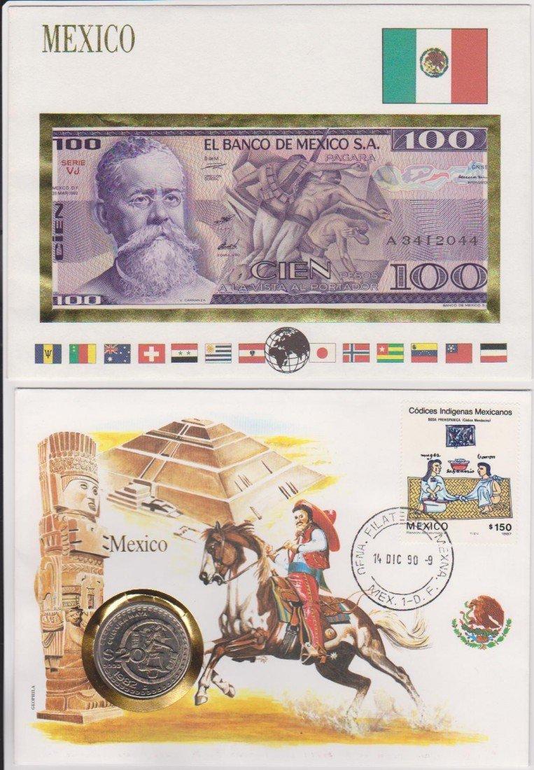10: commemorative Mexican Coin, Bill & Stamp