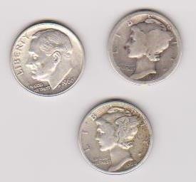 13: 1917+1938 Mercury Dime & 1960 Silver Dime