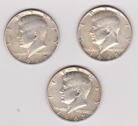 14: 3 Uncirc Kennedey Half Dollars 1967/68/69