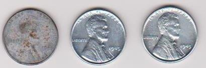 17: 3-1943 Steel pennies 2 uncirc