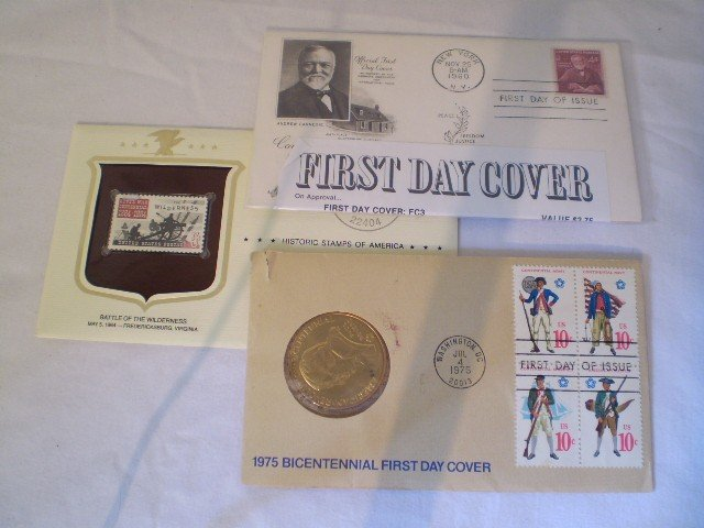 21: Set of 3 Collector Stamps & coin